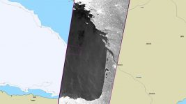 oil spill at sea, satellite imagery