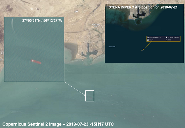 Stena Impero satellite imagery analysis
