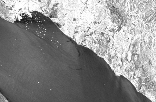 oil spill in california radar image